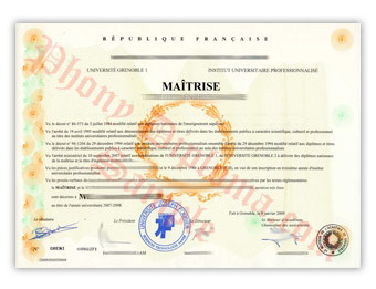 Universite Grenoble - Fake Diploma Sample from France