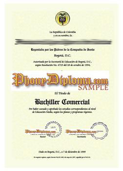 Fake Diploma from Colombian University Columbian  D