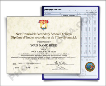 New Brunswick Canada Fake High School Diploma and Fake Transcripts