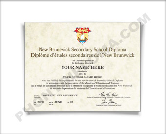 New Brunswick Canada Fake Secondary School Diploma HS Can NewB D