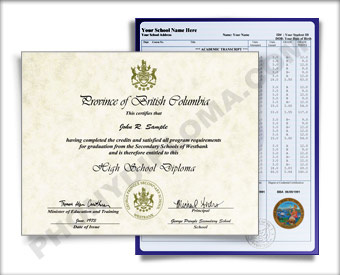 International High School Diploma and Transcripts, Canada Design #1 HS D+T Can 1