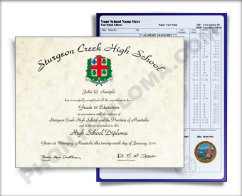 Canada HS Diploma and Transcripts Design #4 HS D+T Can 4