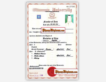 Osmania University - Fake Diploma Sample from India