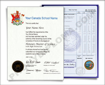 International College Diploma and Transcripts, Canada Design #2 Col Can 2 D+T