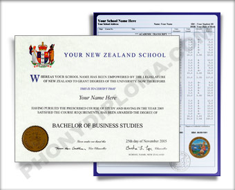 International College Diploma and Transcripts, New Zealand Design #2 Int NZ T 2
