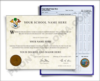 Fake Diploma and Transcripts from Belize University Belize D&T