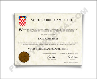 Fake Diploma from Croatia University Croatia D
