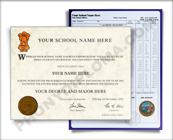 Fake Diploma and Transcripts from India University India D&T