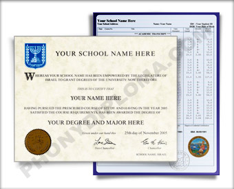 Fake Diploma and Transcripts from Israel University