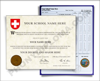 Fake Diploma and Transcripts from Switzerland University Switzerland D&T