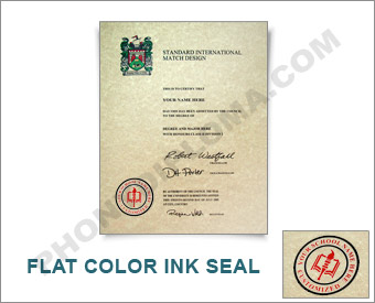 Standard Package - International College Diploma, Actual Design, Full Color Ink Emblem Int ADM - S