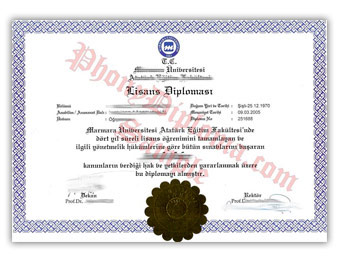 Marmara Universitesi - Fake Diploma Sample from Turkey