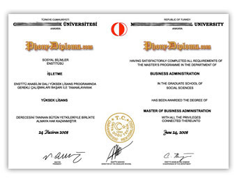 Middle East Tech University - Fake Diploma Sample from Turkey