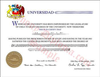 Fake Diploma from Chile University Chile D