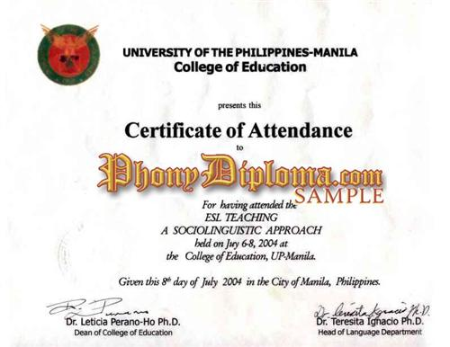 Fake Diploma from Philippines University - PhonyDiploma.com
