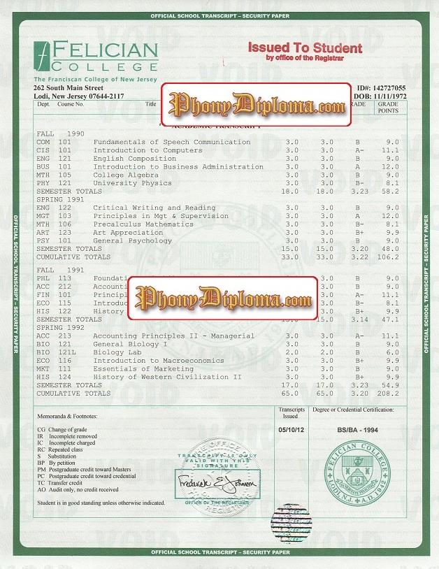 Answers - Transcript Questions - Phonydiploma.Com