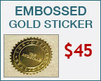 Embossed Gold Sticker + $45