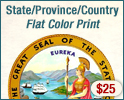 Official State Seal Flat Printed Ink - $10