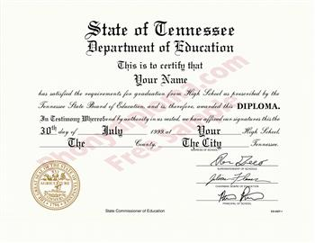 Fake Tennessee High School Diploma