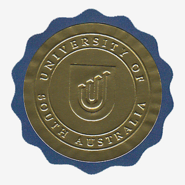 Fake Diploma Embossed Round Foil over Blue Scalloped Seal & Emblem