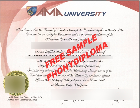 Ama University Philippines Diploma Free Sample From Phonydiploma