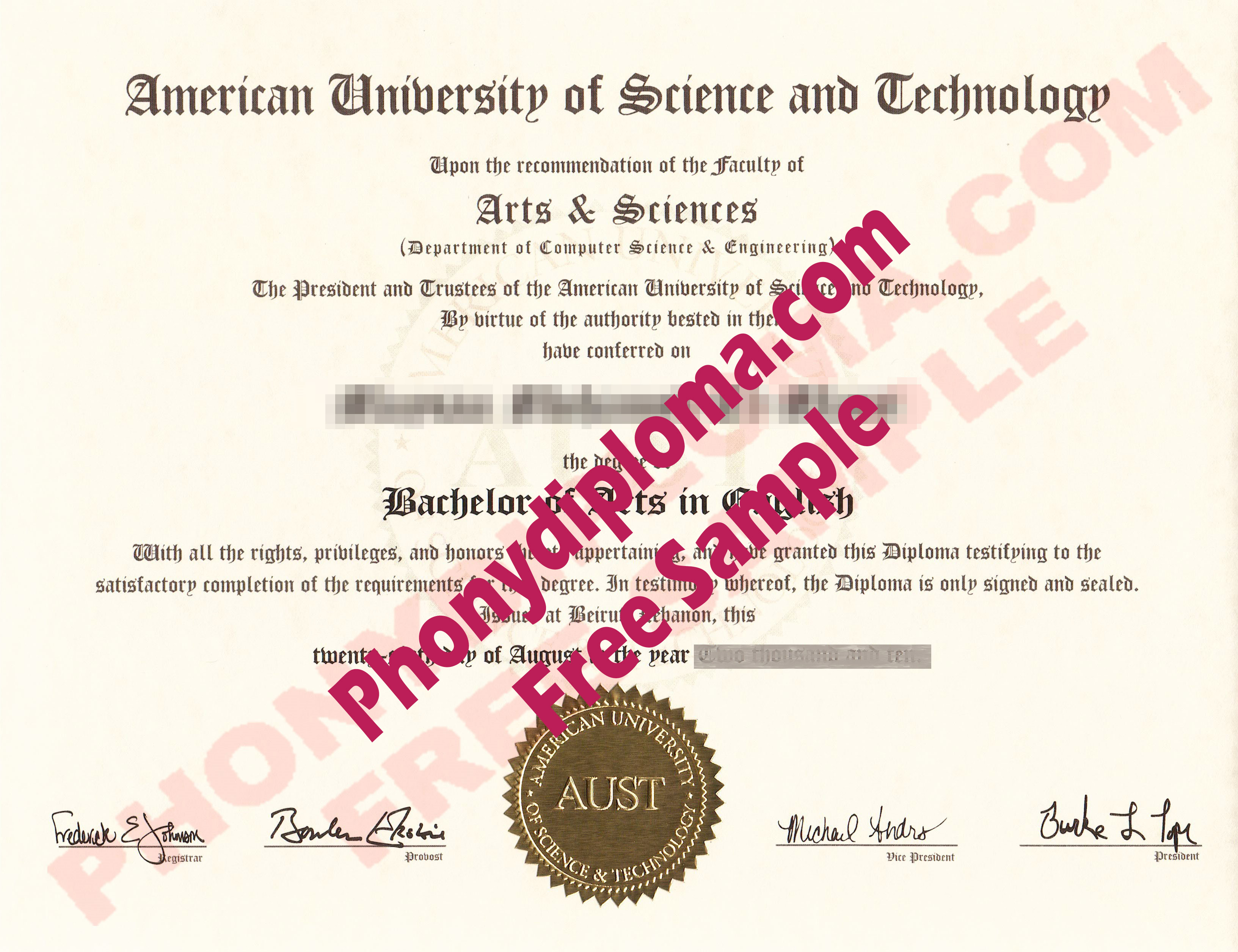 American University Of Science And Technology Free Sample From Phonydiploma
