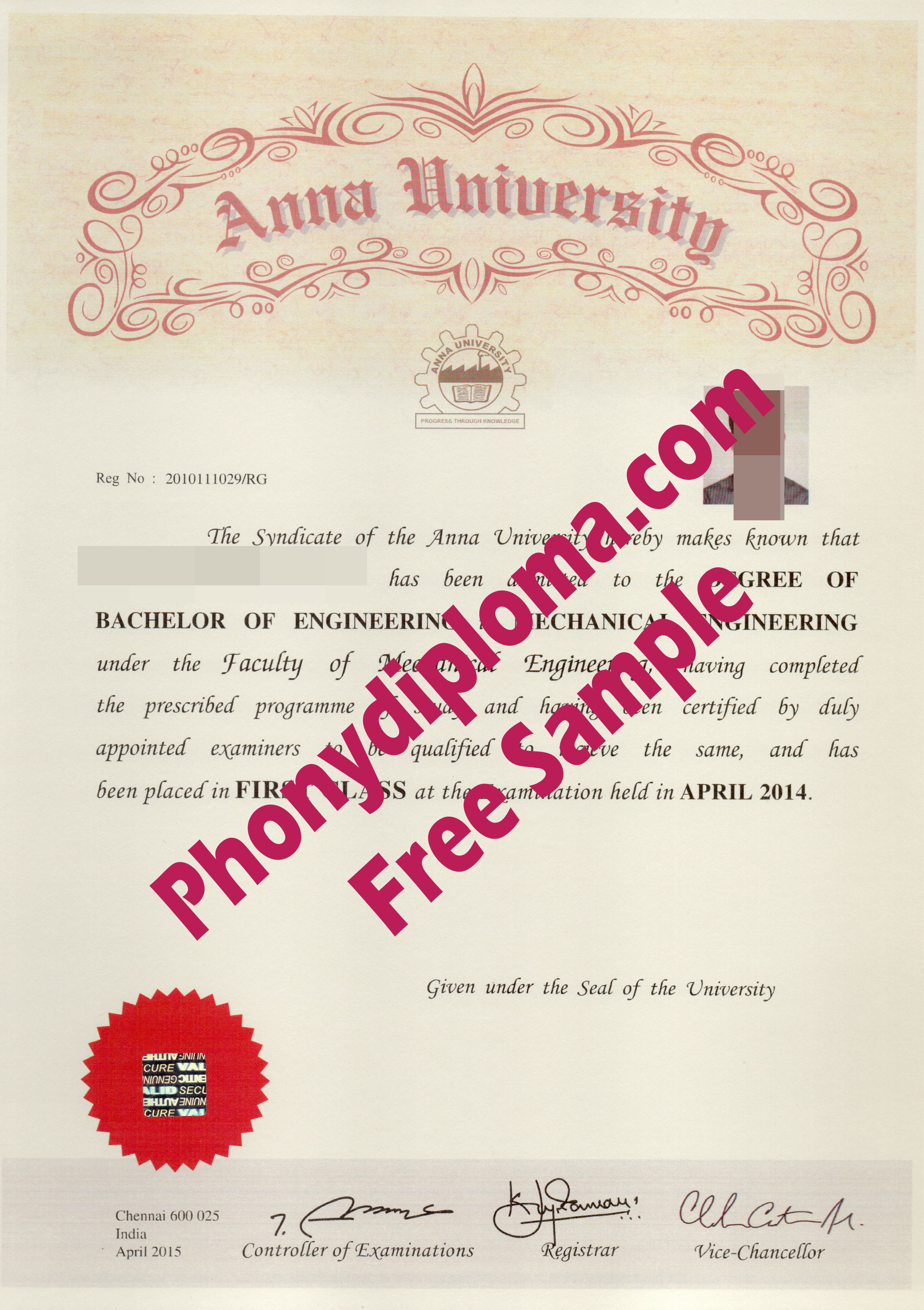 Anna University Free Sample From Phonydiploma