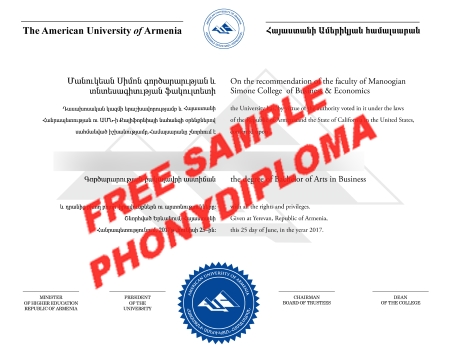 Armenia The American University Of Armenia Free Sample From Phonydiploma