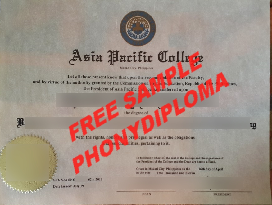 Asia Pacific College Philippines Diploma Free Sample From Phonydiploma 2