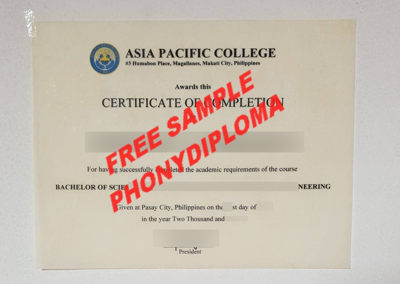 Asia Pacific College Philippines Diploma Free Sample From Phonydiploma