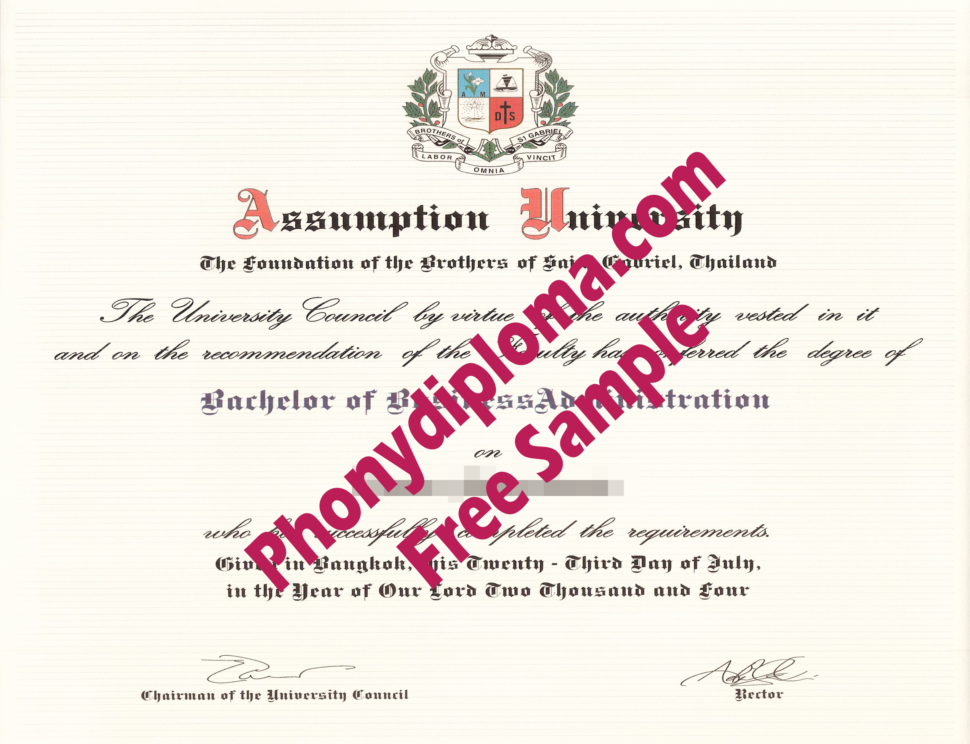 Assumption University Thailand Free Sample From Phonydiploma