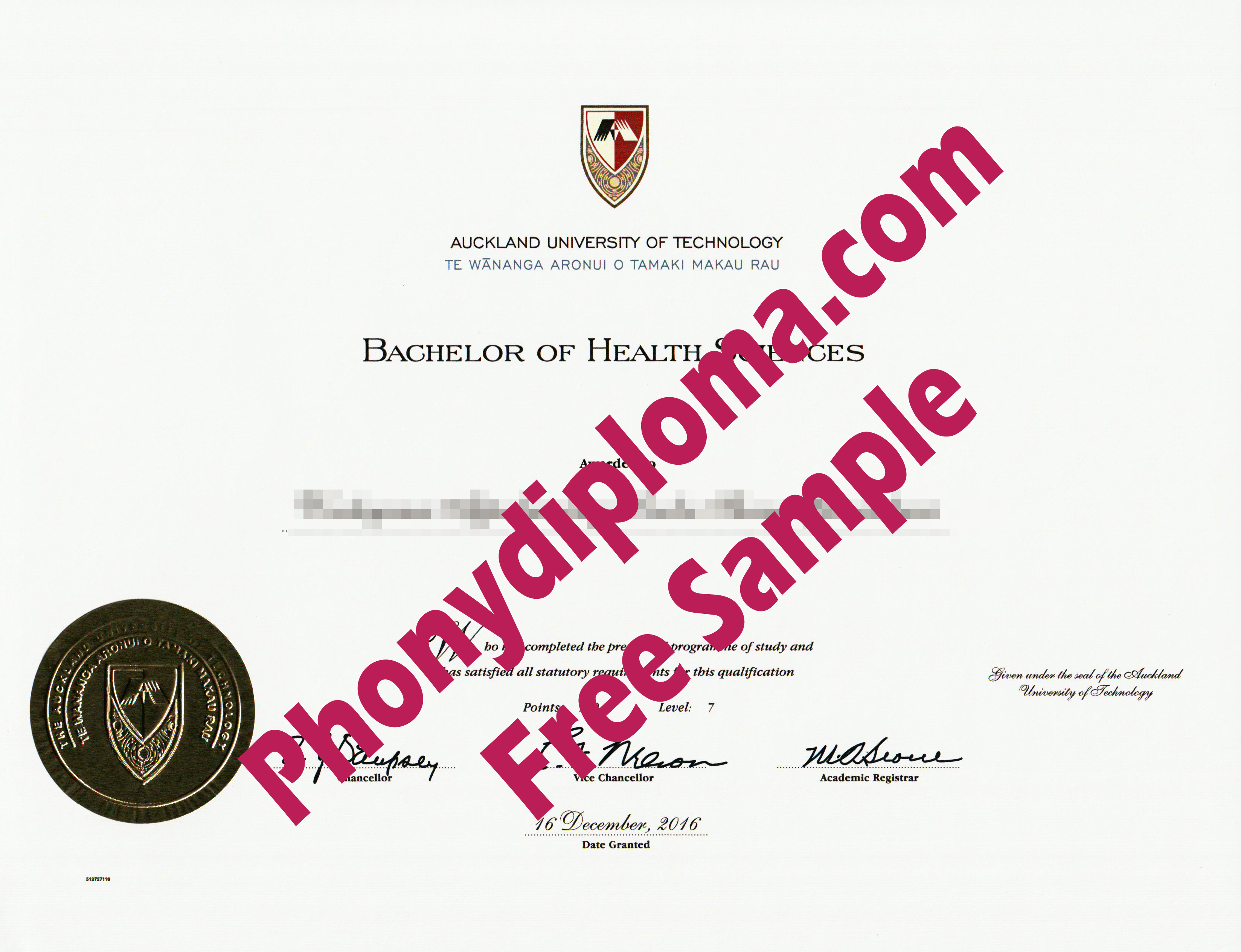 Auckland University Of Technology New Zealand Free Sample From Phonydiploma