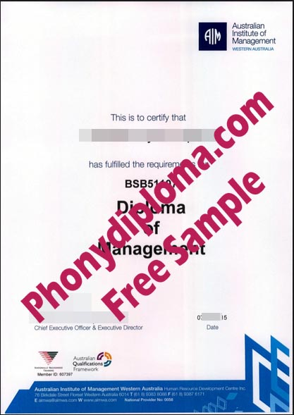 Austrailan Institute Of Management Free Sample From Phonydiploma
