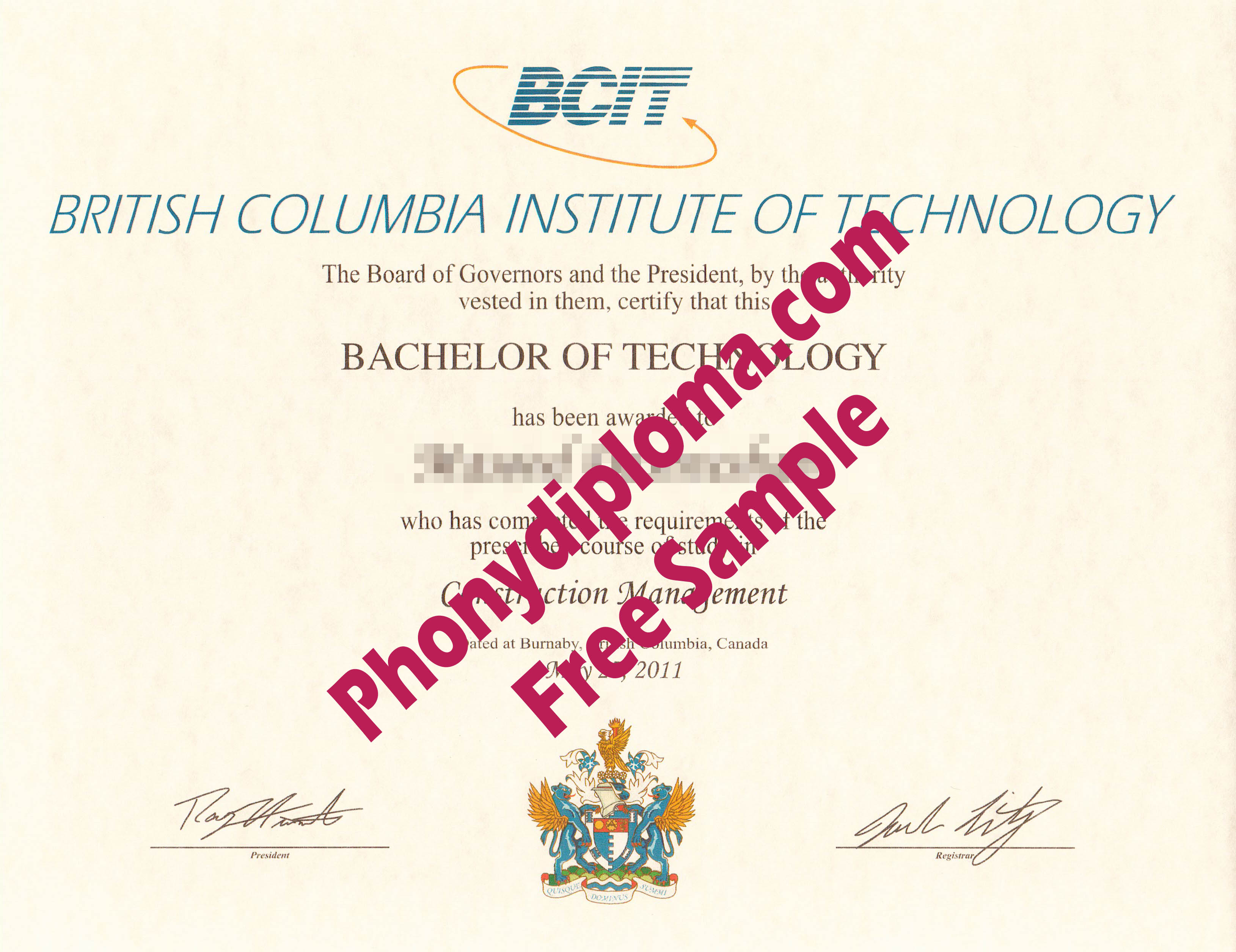 Bcit British Columbia Institute Of Technology Free Sample From Phonydiploma