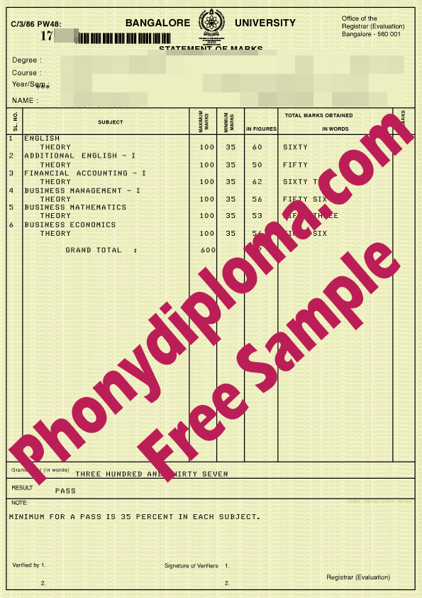 Bangalore University Actual Match Transcript Free Sample From Phonydiploma
