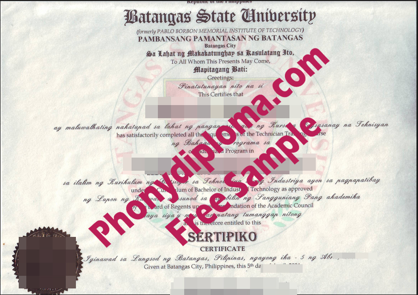 Batangas State University Philippines Free Sample From Phonydiploma