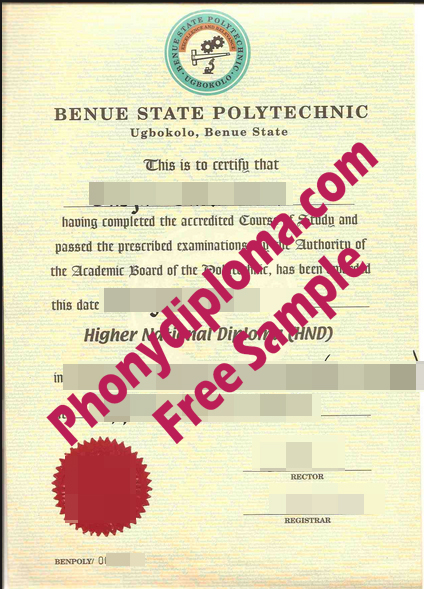 Benue State Polytechnic Free Sample From Phonydiploma