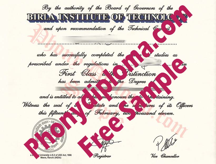 Birla Institute Of Technology Free Sample From Phonydiploma