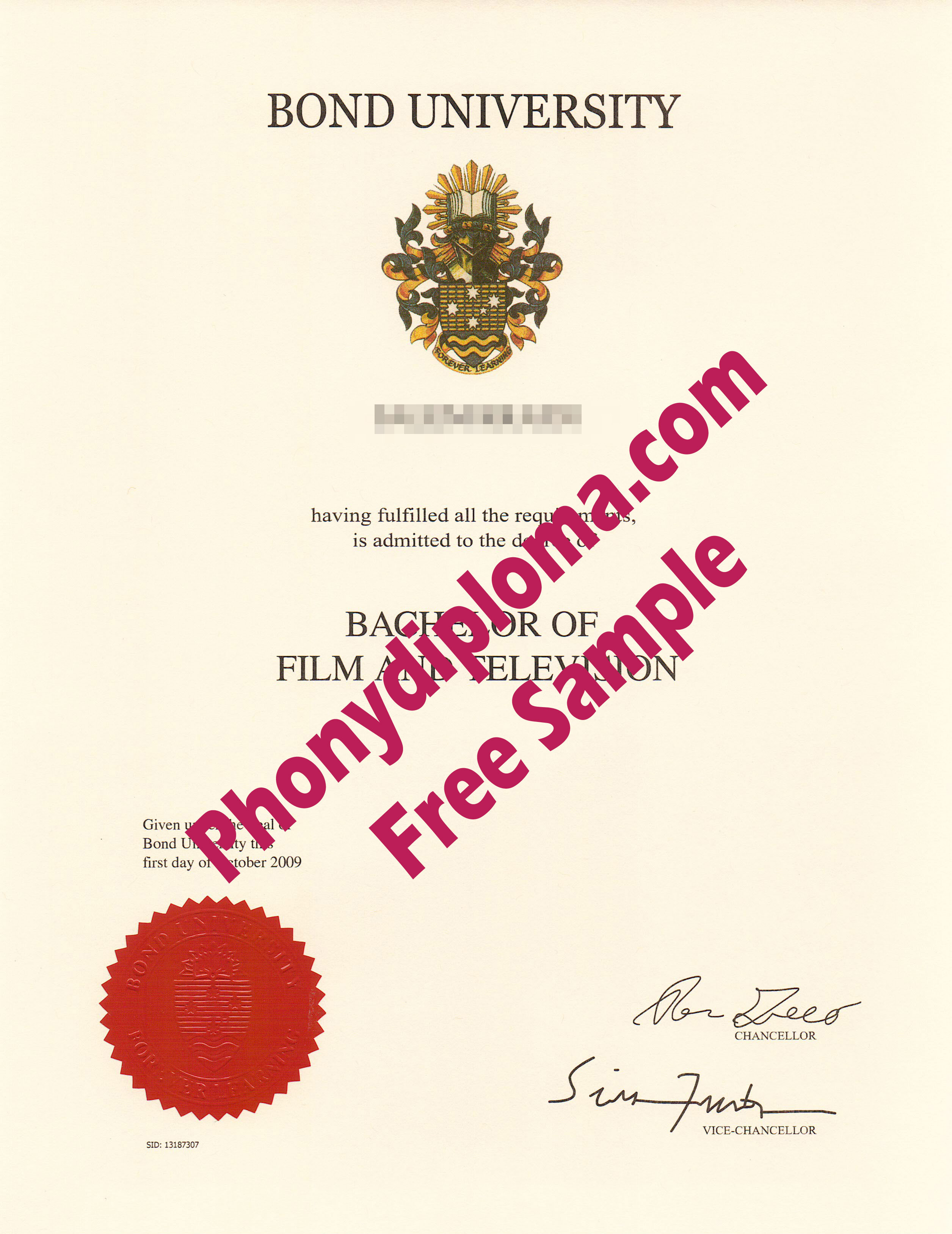Bond University Scan Free Sample From Phonydiploma