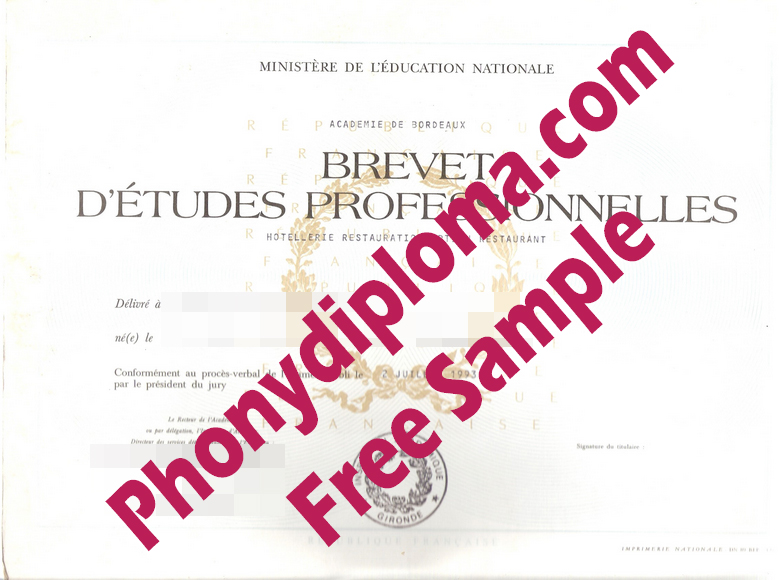 Brevet D'etudes Professionnelles French Diploma From Phonydiploma