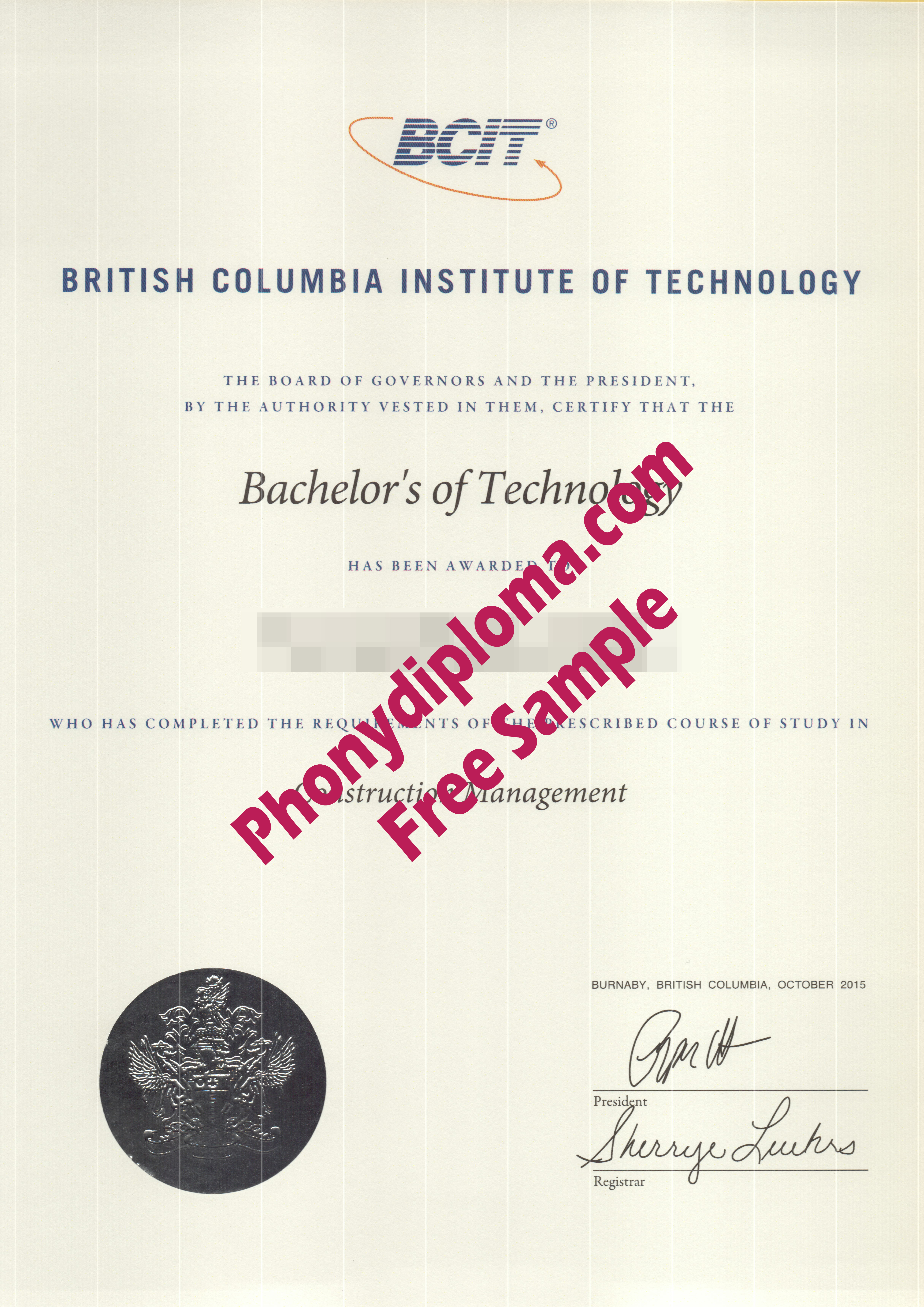 British Columbia Institute Of Technology Bcit Free Sample From Phonydiploma