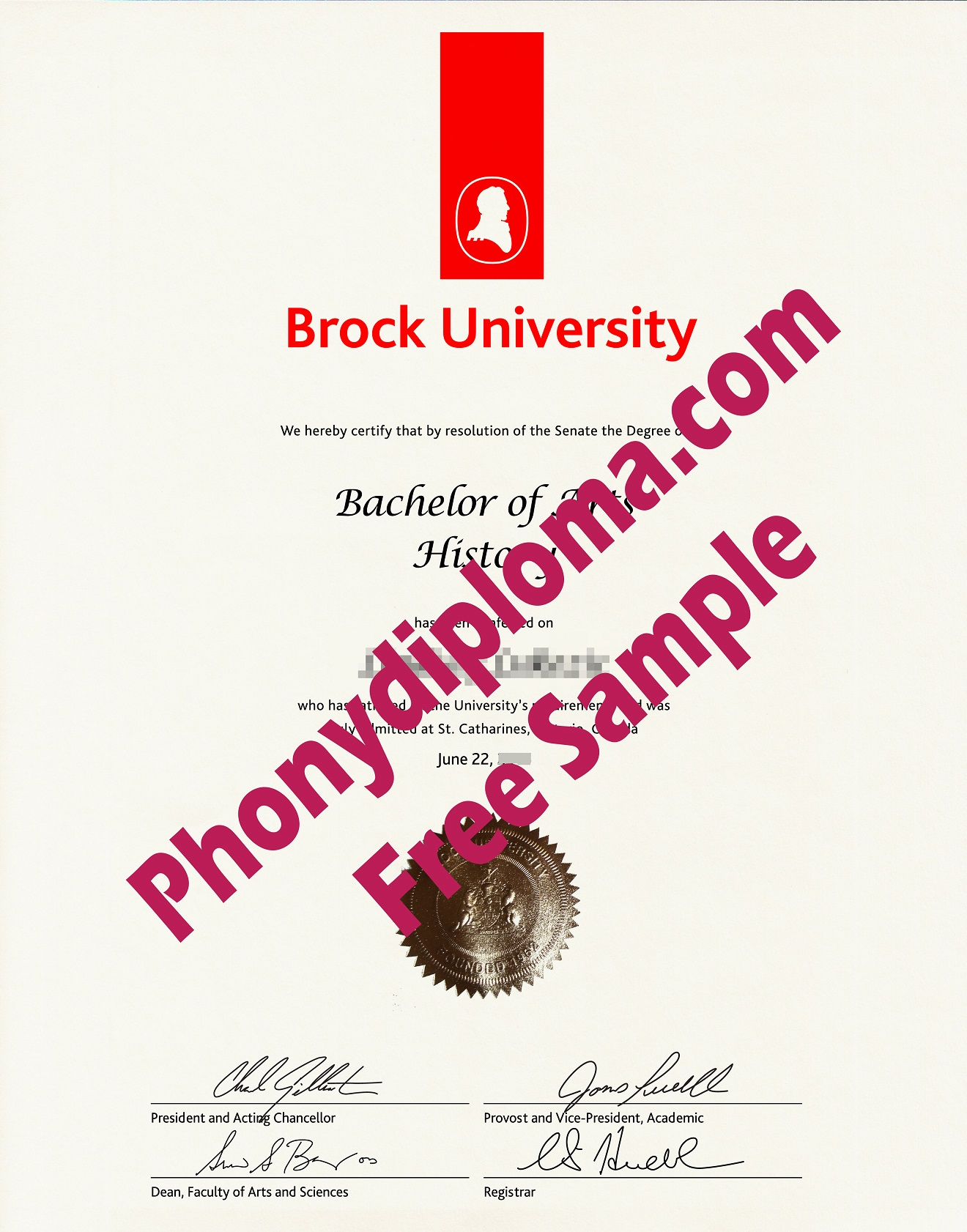 Brock University Free Sample From Phonydiploma