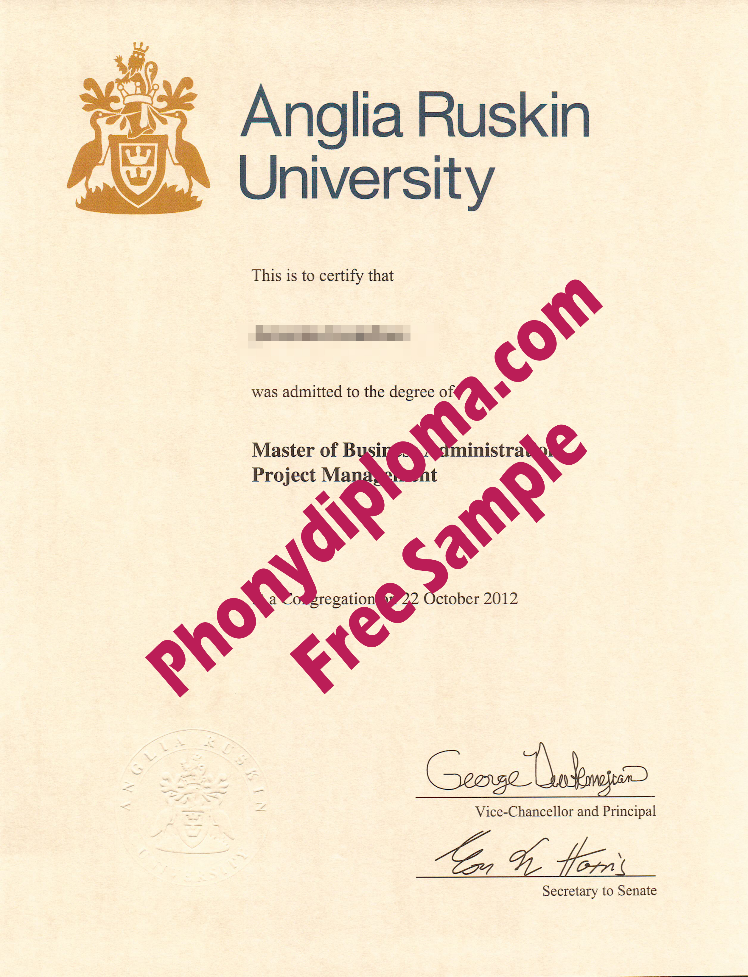 C&D  Anglia Ruskin University Free Sample From Phonydiploma
