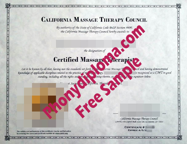 California Masssage Therapy Council With Actual California State Embossed Gold Foil Emblem Free Sample From Phonydiploma