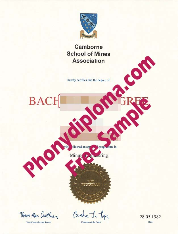 Camborne School Of Mines Free Sample From Phonydiploma