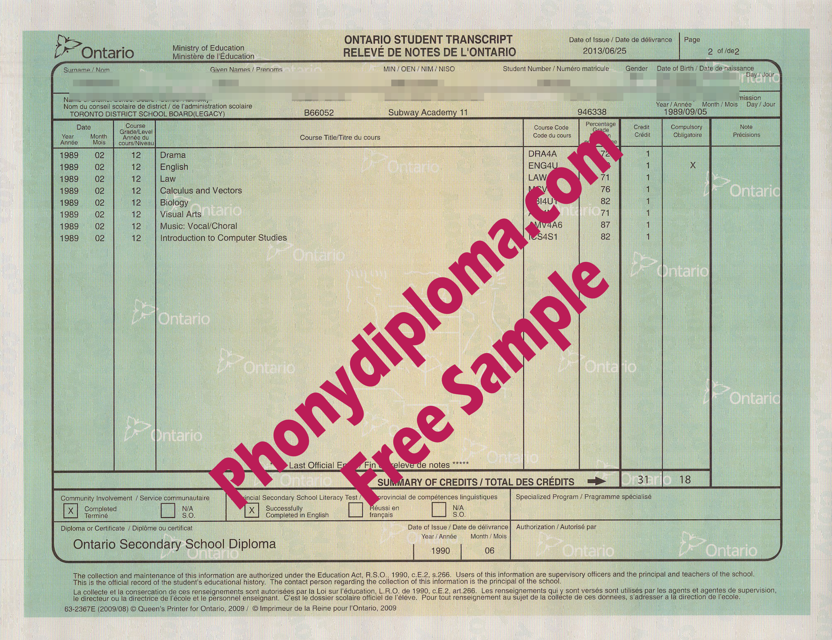 Canada High School Actual Match Transcript Free Sample From Phonydiploma