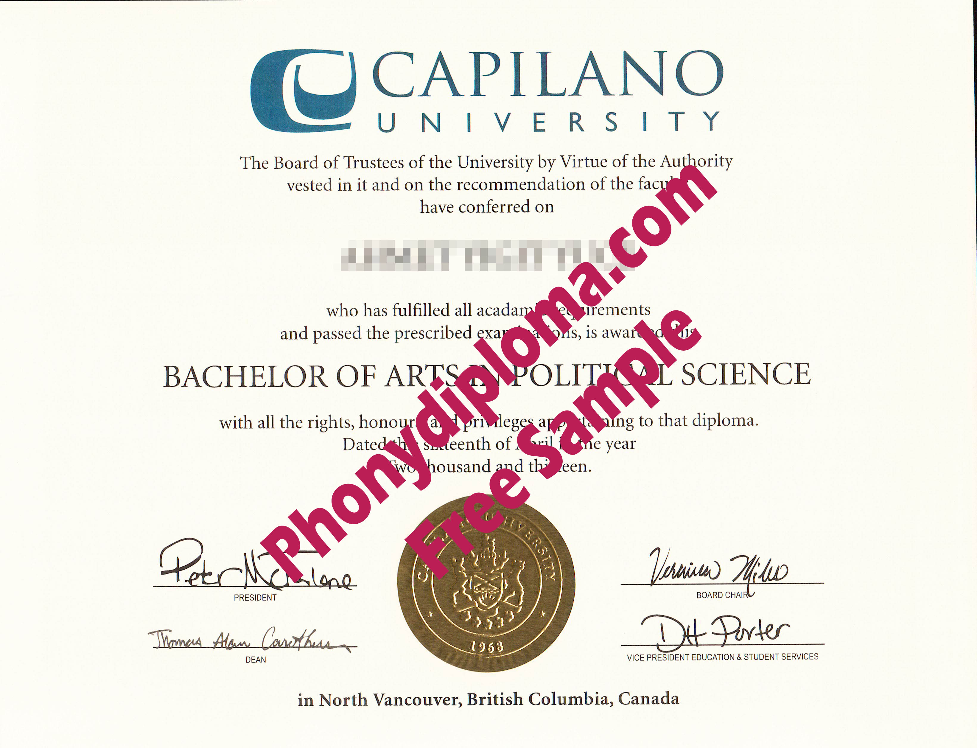 Capilano University Free Sample From Phonydiploma