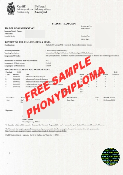 Cardiff Metropolitan University Actual Match Transcript Free Sample From Phonydiploma