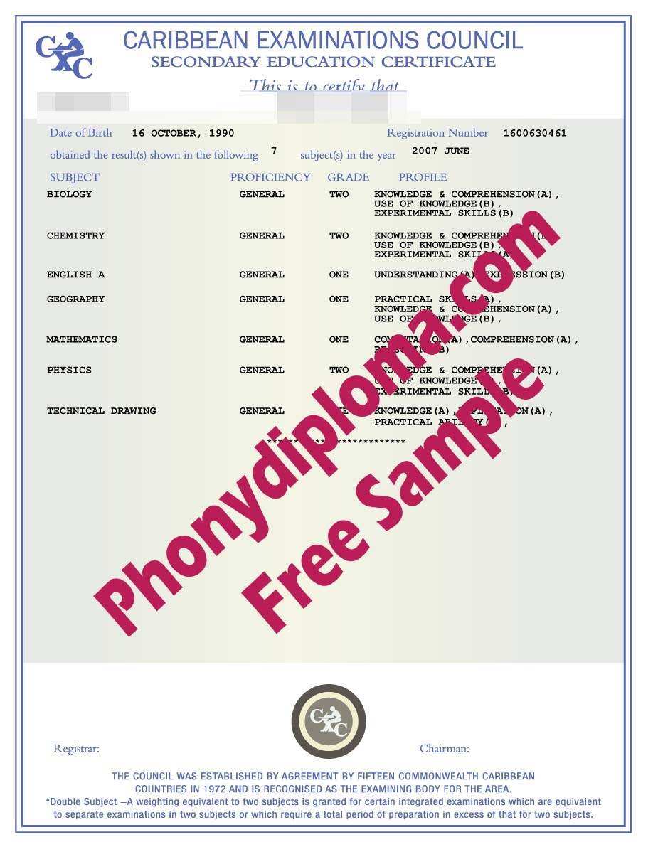 Caribbean Examinations Council Secondary Education Certificate Free Sample From Phonydiploma