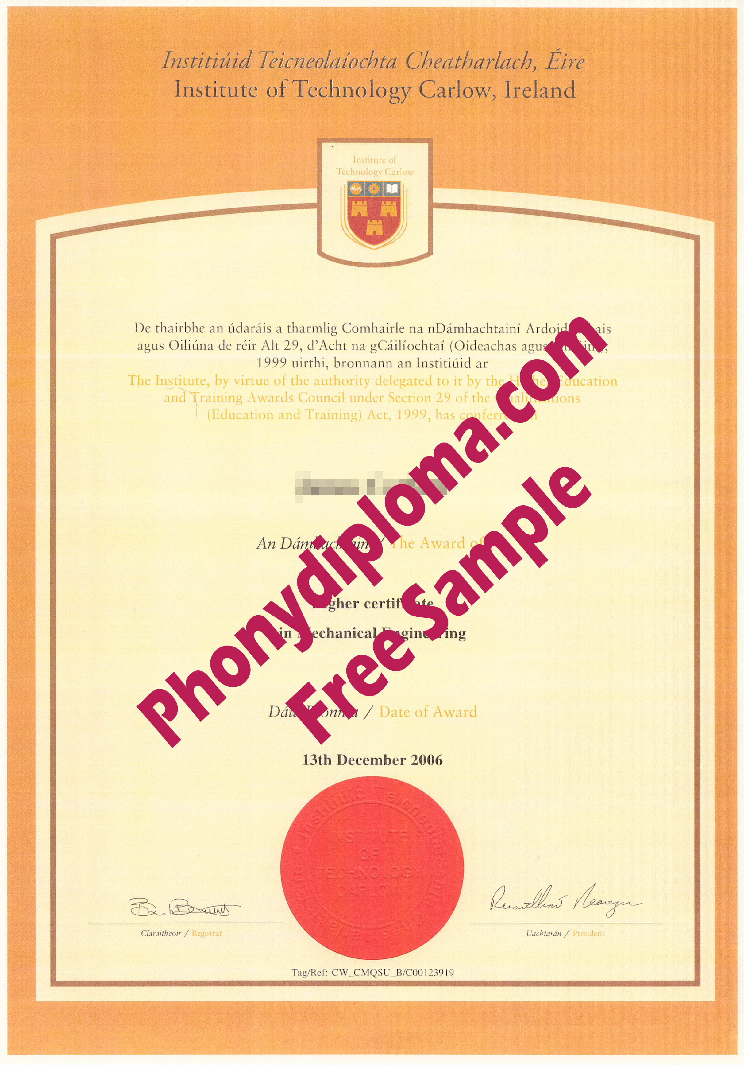 Carlow Institute Of Technology Ireland Diploma Free Sample From Phonydiploma